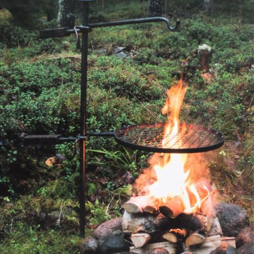 Mustang campfire rack and hook